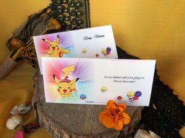 2in1 Plic bani/Place card botez Pikachu